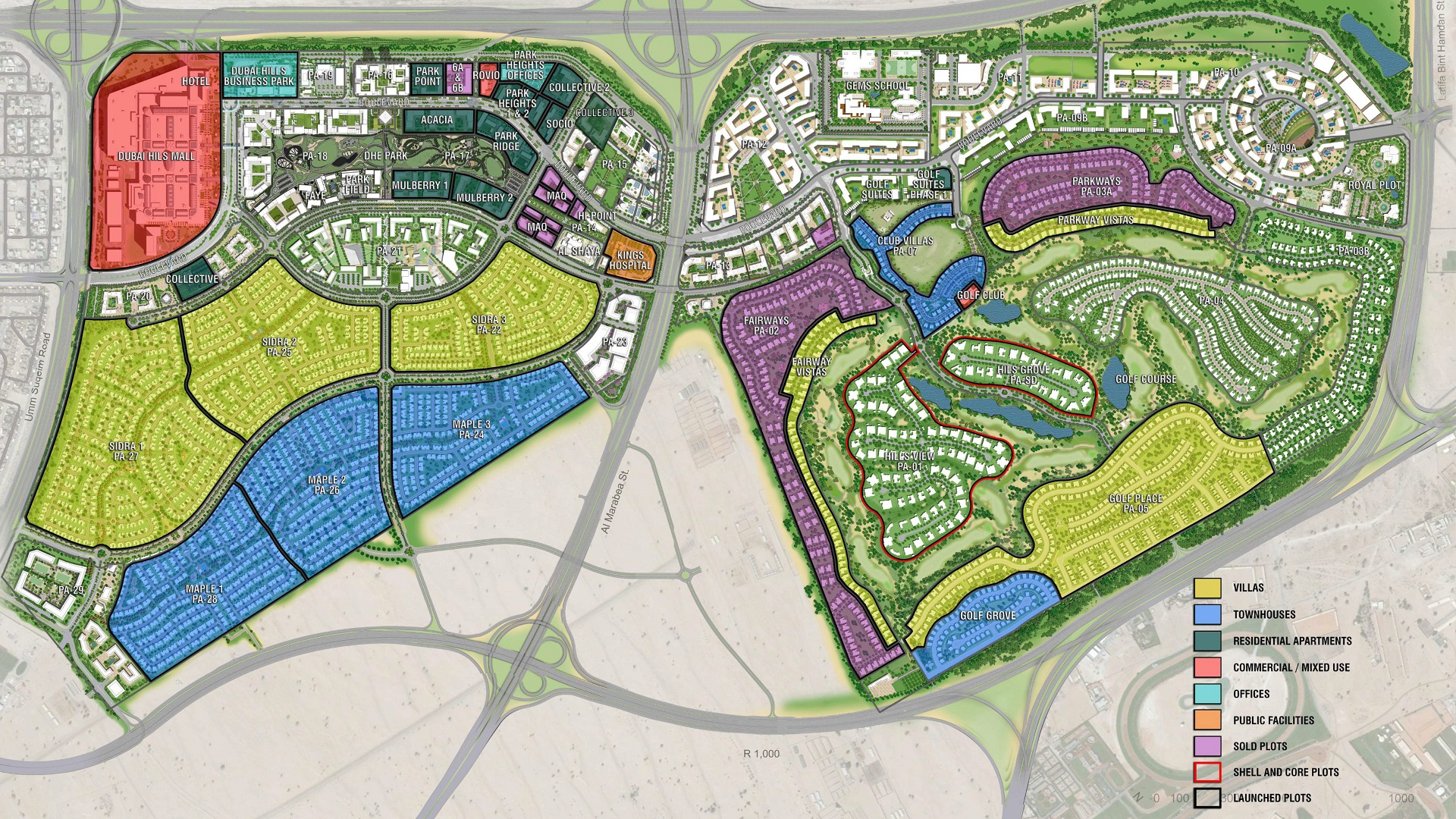 Dubai Hills Master Plan Map