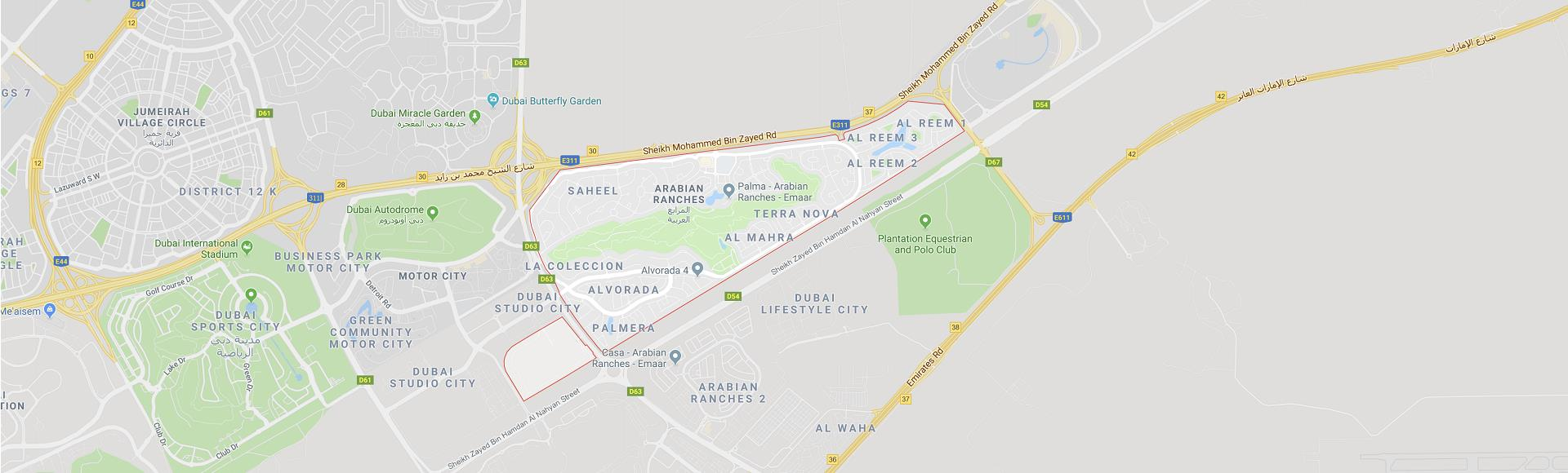 Arabian Ranches Dubai Location Map