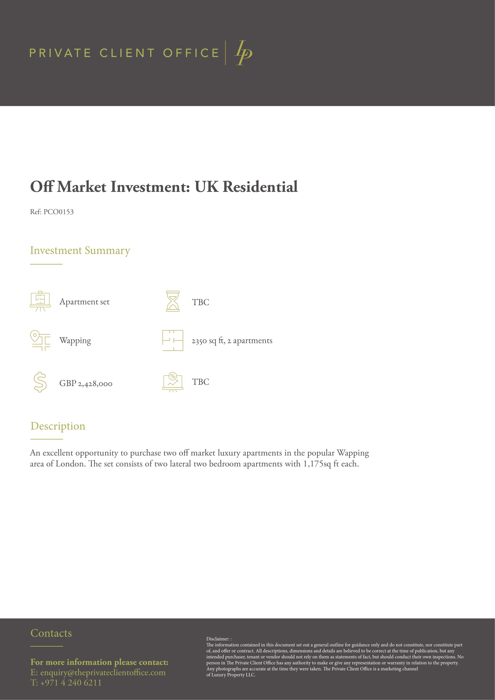 Off Market Investment: UK Residential - PCO0153