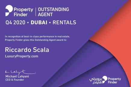 Riccardo Scala is Property Finder's Outstanding Agent for Q4 2020