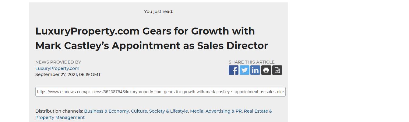 Growth with Mark Castley's Appointment as Sales Director