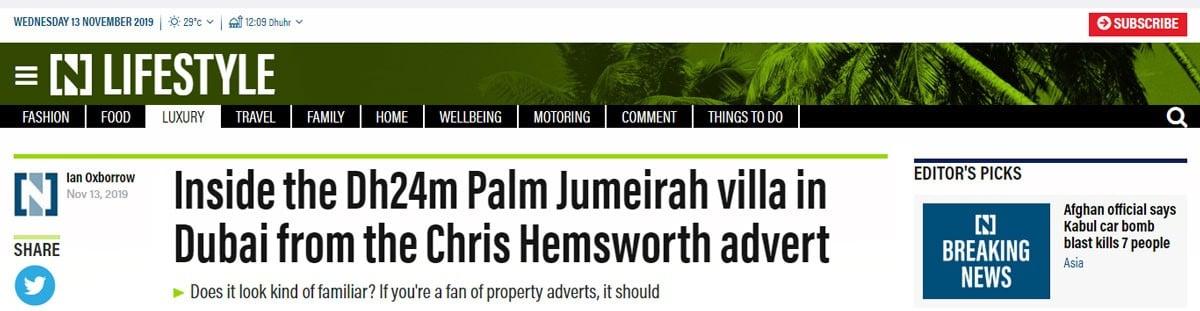 Inside the Dh24m Palm Jumeirah Villa in Dubai from the Chris Hemsworth Advert