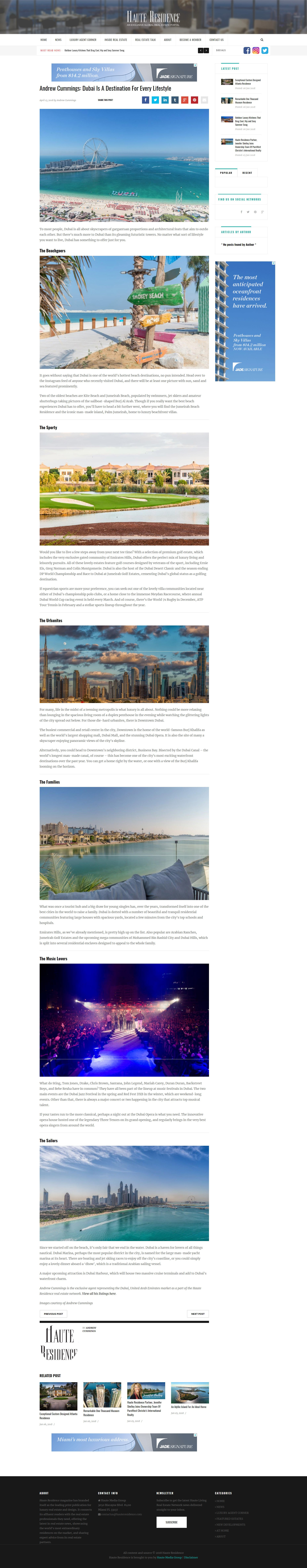 Andrew Cummings - Dubai Is A Destination For Every Lifestyle