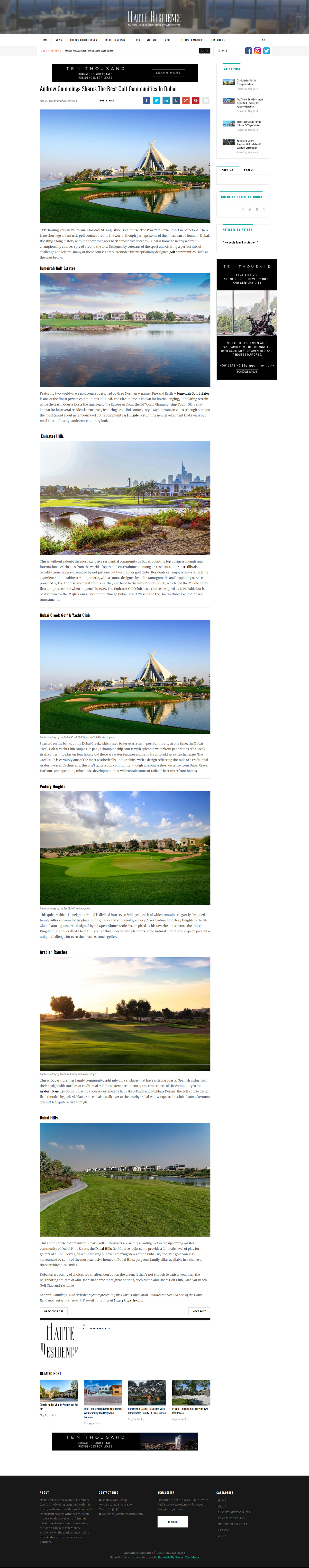Haute Residence - Andrew Cummings Shares The Best Golf Communities In Dubai