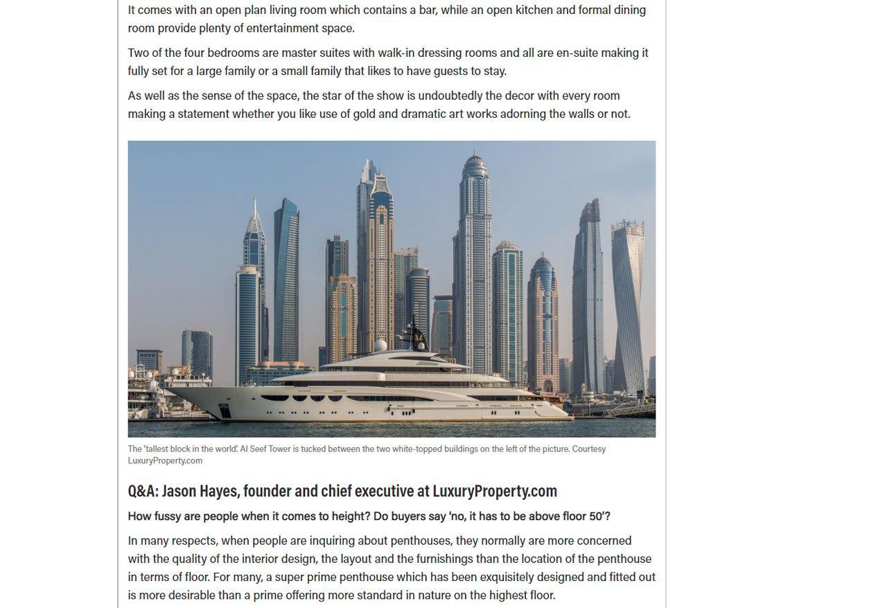 Dh14.5m Dubai Marina penthouse