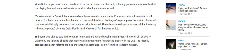 Dubai Lower real estate prices