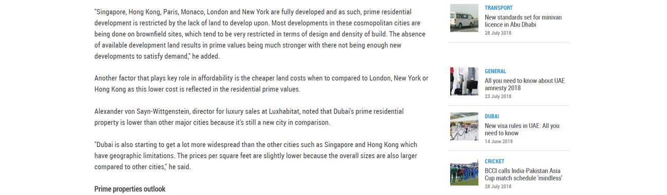 Dubai's prime property prices
