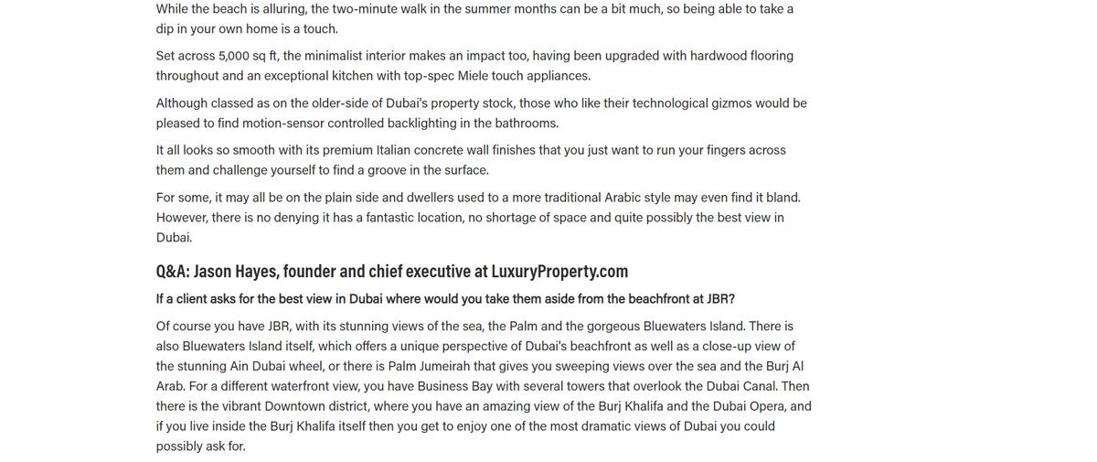 Jumeirah Beach Residence penthouse